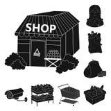 Значки супермаркета и оборудования черные в собрании комплекта для дизайна Приобретение сети запаса символа вектора продуктов бесплатная иллюстрация