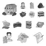 Значки супермаркета и оборудования monochrome в собрании комплекта для дизайна Приобретение сети запаса символа вектора продуктов иллюстрация штока