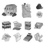 Значки супермаркета и оборудования monochrome в собрании комплекта для дизайна Приобретение сети запаса символа вектора продуктов иллюстрация вектора