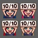 Значки счастливые 10 эмоции из женщины 10 с длинными волосами для социальных сетей и стикеров Стоковое Изображение RF