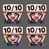 Значки счастливые 10 эмоции из женщины 10 с длинными волосами для социальных сетей и стикеров Стоковая Фотография RF
