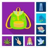 Значки счастливых и атрибута плоские в собрании комплекта для дизайна Счастливый и аксессуар vector иллюстрация сети запаса симво бесплатная иллюстрация