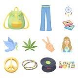 Значки счастливых и атрибута шаржа в собрании комплекта для дизайна Сеть счастливых и аксессуаров вектора символа запаса бесплатная иллюстрация