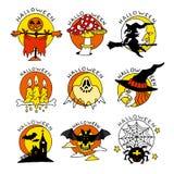 Значки счастливого шаржа хеллоуина плоские Стоковая Фотография