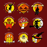 Значки счастливого шаржа хеллоуина плоские Стоковые Фото