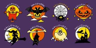 Значки счастливого шаржа хеллоуина плоские Стоковые Изображения RF