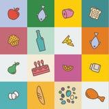 Значки с едой плана и продукты в квартире Стоковая Фотография RF