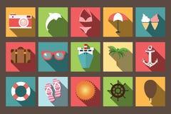 Значки с длинной тенью, элементы летних каникулов плоские дизайна Стоковое Фото