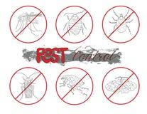 Значки с паразитами в знаках запрета иллюстрация штока