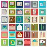 Значки с плоскими элементами дизайна деталей финансовой менеджмент Стоковая Фотография RF