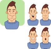 Значки с различными выражениями лица человека 2 Стоковое Фото