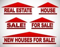 Значки с текстом для концепций недвижимости - для продажи подписывает дом иллюстрация вектора