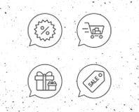 Значки талона магазинной тележкаи, подарочной коробки и продажи иллюстрация штока