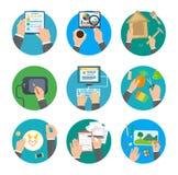 Значки творческого и Handmade процесса установленные Стоковое Изображение