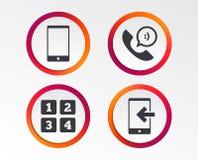 Значки телефона Символ поддержки центра телефонного обслуживания Стоковые Изображения