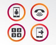 Значки телефона Символ поддержки центра телефонного обслуживания Стоковые Изображения RF