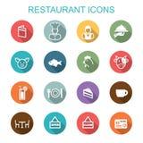 Значки тени ресторана длинные иллюстрация вектора