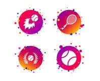 Значки теннисного мяча и ракетки любые могут размер потери лавра изображения иллюстрации вычисленный по маштабу разрешением vecto иллюстрация вектора