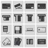 Значки тележки кредита вектора черные бесплатная иллюстрация