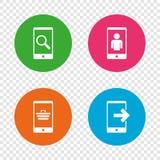 Значки телефона Видео- звонок, онлайн покупки иллюстрация вектора