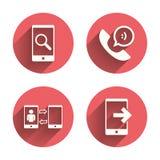 Значки телефона Символ поддержки центра телефонного обслуживания иллюстрация штока