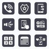 Значки телефона Символ поддержки центра телефонного обслуживания иллюстрация вектора