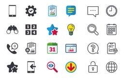 Значки телефона Символ поддержки центра телефонного обслуживания Стоковая Фотография