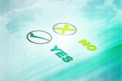 Значки, тикание и крест контрольной пометки на кнопках иллюстрация штока