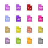 Значки типа файла - видео, звук, и книги иллюстрация вектора