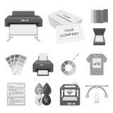 Значки типографских продуктов monochrome в собрании комплекта для дизайна Печатание и сеть запаса символа вектора оборудования Стоковые Фото