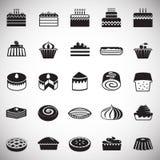 Значки торта установили на белую предпосылку для графика и веб-дизайна, современного простого знака вектора интернет принципиальн бесплатная иллюстрация