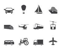 Значки транспорта и перемещения силуэта Стоковая Фотография RF