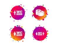 Значки туалетной бумаги Gents и женская уборная вектор бесплатная иллюстрация
