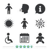 Значки туалета WC Человеческий мужчина или женские знаки Стоковые Изображения RF