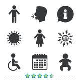 Значки туалета WC Человеческий мужчина или женские знаки Стоковая Фотография RF