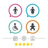 Значки туалета WC Человеческий мужчина или женские знаки Стоковое фото RF
