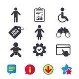 Значки туалета WC Человеческий мужчина или женские знаки Стоковые Изображения
