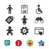 Значки туалета WC Человеческий мужчина или женские знаки Стоковые Фотографии RF