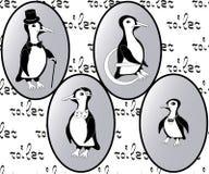Значки уборного вектора: пингвины как дама, человек, ребенок и инвалидность Стоковые Фото