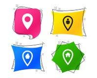 Значки указателя карты Положение дома, еды и потребителя вектор иллюстрация штока