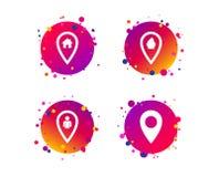 Значки указателя карты Положение дома, еды и потребителя вектор иллюстрация вектора