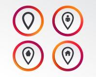 Значки указателя карты Положение дома, еды и потребителя Стоковая Фотография RF