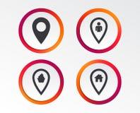 Значки указателя карты Положение дома, еды и потребителя Стоковое фото RF