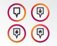 Значки указателя карты Положение дома, еды и потребителя Стоковое Изображение RF