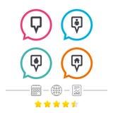 Значки указателя карты Положение дома, еды и потребителя Стоковые Изображения