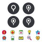 Значки указателя карты Положение дома, еды и потребителя Стоковые Фотографии RF