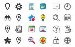 Значки указателя карты Положение дома, еды и потребителя Стоковые Изображения RF
