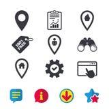 Значки указателя карты Положение дома, еды и потребителя Стоковая Фотография