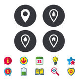 Значки указателя карты Положение дома, еды и потребителя Стоковые Фото
