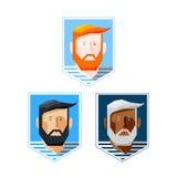 Значки укомплектовывают личным составом с бородой Стоковые Фото